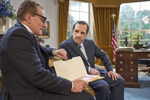 Harry Shearer as Richard Nixon, with Henry Goodman as Henry Kissinger