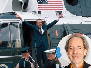 Richard Nixon exiting helicopter